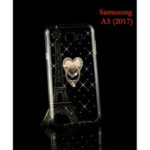 Transparent Gold Cover And Ring For Samsung A3 2017 SA-1677
