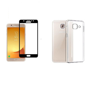 3D Tempered Glass Protector + Back Cover for Samsung J7 Max Black