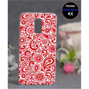 Xiaomi Redmi 4X Floral Style Mobile Back Cover Red