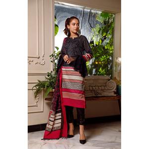 Oaks 2 Pcs Unstitched Suit For Women OLE2P-3657-A Black & Red