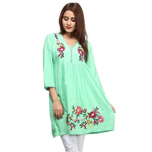 Frock Style Flowers Embroidered Kurti For Women NO ...