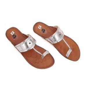 SNF Shoes Kolapuri Slippers for Women 400 Silver