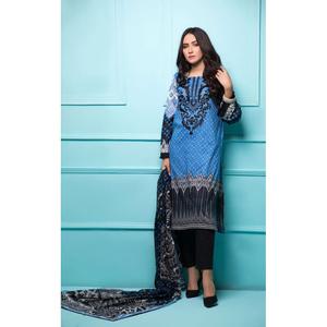 Oaks 3 Pcs Unstitched suit for Women OLE-3492-A Blue