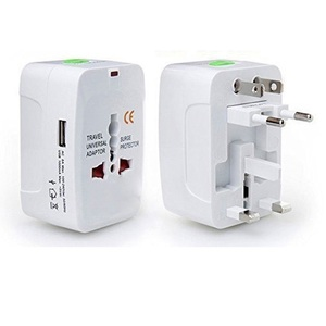 All In 1 Universal Travel Adaptor Wall Charger with Dual USB Charging Ports White