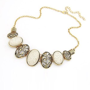 Moon Stones Necklace WP101 White, Green, Red and G ...