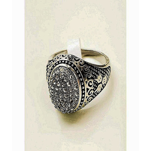 Micro Pave Zirconia Stones Ring For Men Silver