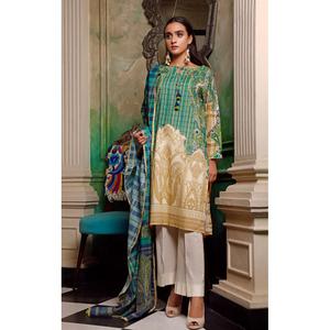 Oaks 2 Pcs Unstitched Suit For Women OL2P-3564-A Beige & Green