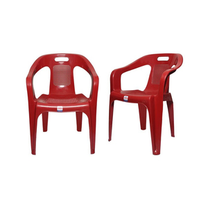 Venus Stylish Plastic Outdoor Chair Set Of 2 TBL-TRL-155 Red