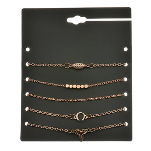 Zardi 5 Pieces Anklet Set ANK20 Golden