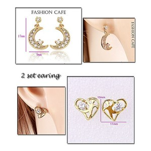 Fashion Cafe Pack Of 2 Gold Plated Earrings For Wo ...