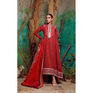 Oaks 3 Pcs Unstitched Suit for Women OLE3P-3596-A Red