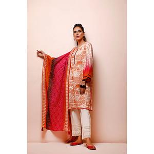 Oaks 2 Pcs Unstitched Suit for Women OL2P-3494-B Dark Pink & Orange