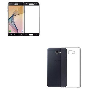 3D Tempered Glass Protector + Back Cover for Samsung J7 Prime Black