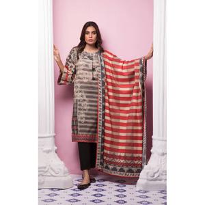 Oaks 3 Pcs Unstitched suit for Women OL3P-10374-A Grey