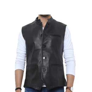 Sage Leather Casual Waist Coat for Men 25119 Black