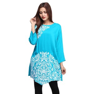 DOH Stylish Printed Kurti for Women DOHG-267 Turquoise