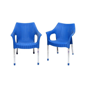 Venus Rattan Plastic Chair With Steel Legs Set of 2 TBL-TRL-146 Blue