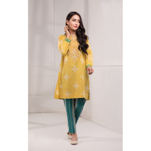 Oaks 2 Pcs Unstitched suit for Women OLE2PT-10338-B Yellow
