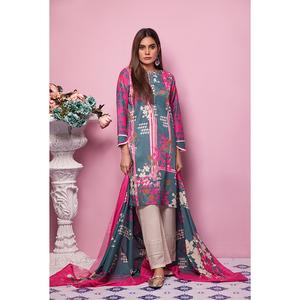 Oaks 3 Pcs Unstitched Suit for Women Multicolor