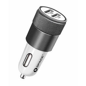 Space Dual Ports Car Charger Off White