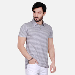 Striped Polo T-Shirt For Men FMTPS17014 - Grey