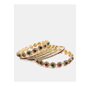 Jewellery Hut Gold Plated Zirconia Bangles Set For Women Jh-043