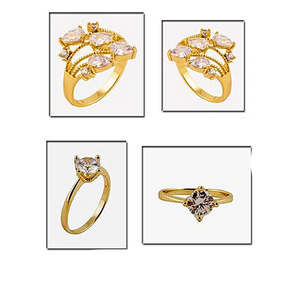 Fashion Cafe Pack of 2 Gold Plated Ring Golden