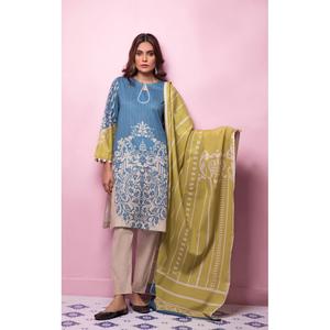 Oaks 2 Pcs Unstitched suit for Women OL2P-10375-B Blue