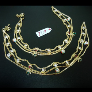 JOS Glamorous Anklets with Multi Color Stones Golden