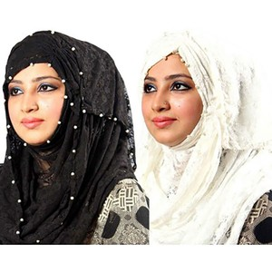Pack of 2 Net Hijab PK004 Black & White