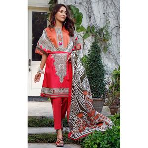Oaks 3 Pcs Unstitched Suit for Women OL3P-3604-B Orange