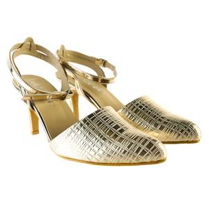 Lace-Up Anklet Heels For Women 00025 Golden