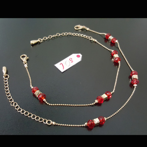 JOS Graceful Anklet with Red Crystal Golden