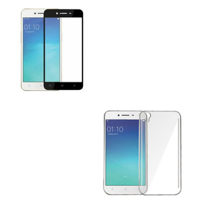 3D Tempered Glass Protector + Back Cover for Oppo A37 Black