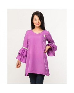 Naureen Shah Purple Crepe Silk Lace Embellished Tunic For Women