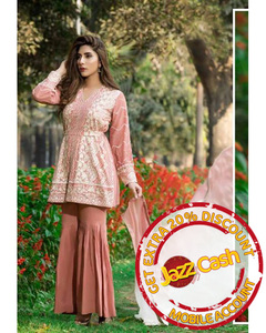 S.U.J Designers Tea Pink Lawn Luxury Unstitched Embroidered 3-Pc Suit for Women - ZS-06