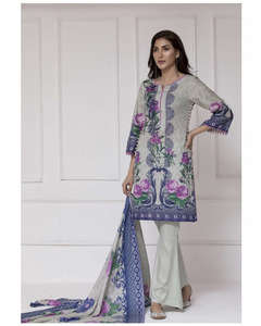 ZS Textile Grey Rangreza Printed Lawn Unstitched Suit - 3 Piece Volume 10