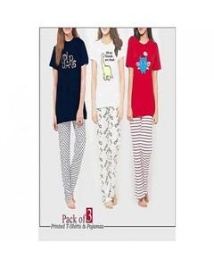 Rex Bazaar Pack Of 3 Cotton Printed T-Shirt For Women - Ts-243