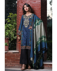Rangreza Blue Lawn Unstitched 3-Pc Suit - Volume 3 - 9b