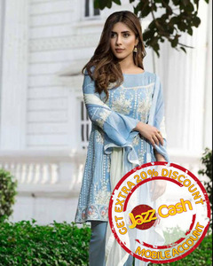S.U.J Designers Ice Blue Lawn Luxury Unstitched Embroidered 3-Pc Suit for Women - ZS-01