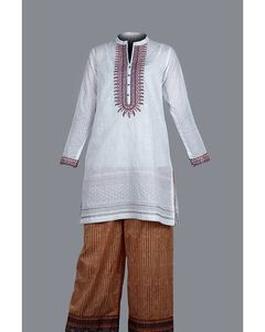 Oak Buff White Pima Lawn Oak Field Unstitched 2-Pc Suit For Women - Silsila Volume - EAD18-17
