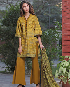 Rangreza Orange Lawn Unstitched 3-Pc Suit - Volume 3 - 4b