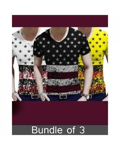 Rex Bazaar Pack Of 3 Cotton Printed T-Shirt For Him - Ts-327