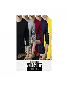 Rex Bazaar Pack Of 5 Cotton Plain T-Shirt For Him - Ts-133