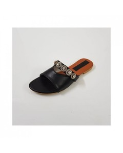 Archertees Flat Black Rexine Buckle Slippers - At-182-6