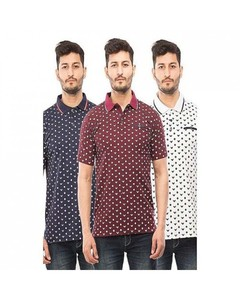 Rex Bazaar Pack Of 3 Cotton Printed Polo Shirts For Men - Ts-192