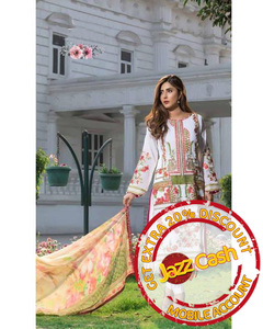 S.U.J Designers White Lawn Luxury Unstitched Embroidered 3-Pc Suit for Women - ZS-05