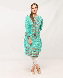 Buy And Buy Sea Green Cotton Embroidered Kurti For Women - KU-17