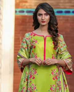 Rangreza Green Lawn Unstitched 3-Pc Suit - Volume 3 - 6a
