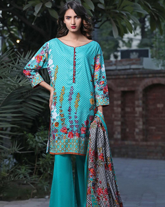 Rangreza Blue Lawn Unstitched 3-Pc Suit - Volume 3 - 10b